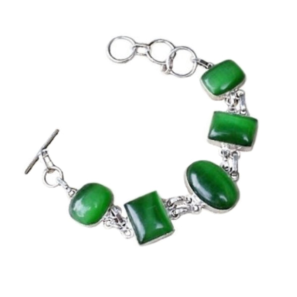 Handmade Green Cats Eye Gemstone .925 Silver Bracelet - BELLADONNA