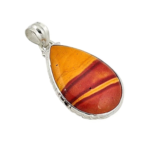 Captivating Sunset Mookaite Gemstone Solid .925 Sterling Silver Pendant - BELLADONNA