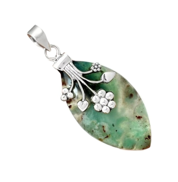 Natural Aquaprase Gemstone Solid .925 Sterling Silver Pendant - BELLADONNA