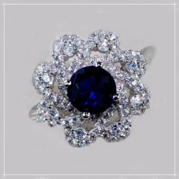 Blue Sapphire , White Topaz  Solid.925 Sterling Silver Ring Size 8 - BELLADONNA