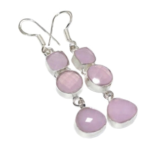Faceted Pink Chalcedony .925 Silver Earrings - BELLADONNA