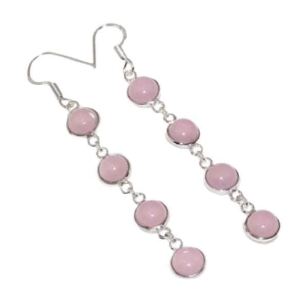 Soft Pink Chalcedony Cabochons .925 Silver Earrings - BELLADONNA