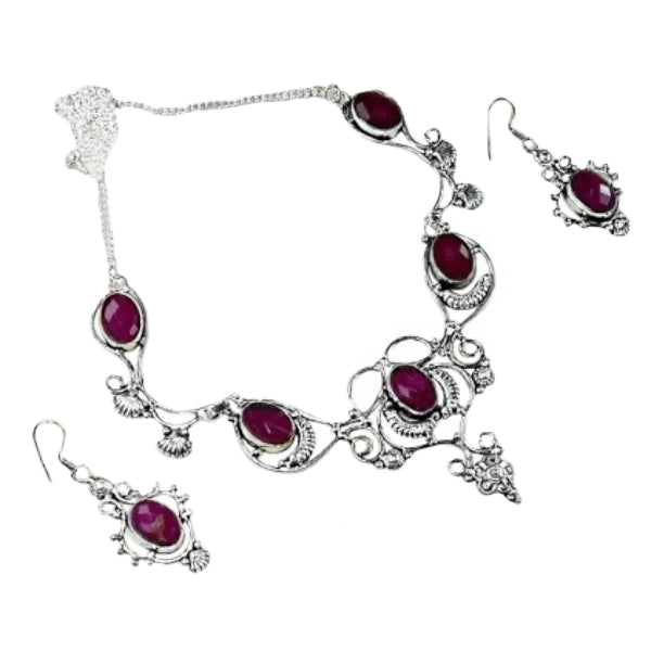 Royal Ruby Gemstone .925 Sterling Silver Necklace and Earrings Set - BELLADONNA