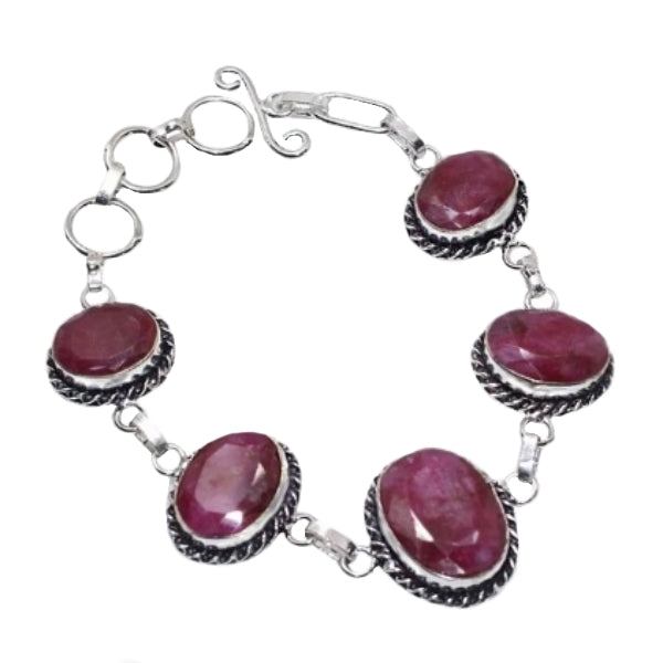 Cherry Ruby Gemstone .925 Sterling Silver Bracelet - BELLADONNA