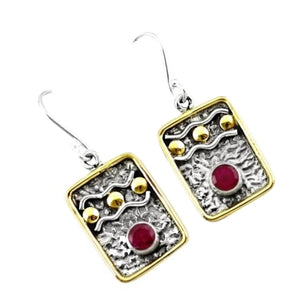 Victorian Two Tone Natural Red Ruby Gemstone Solid .925 Sterling Silver Earrings - BELLADONNA