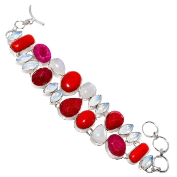 Breathtaking Red Coral,Ruby, Rainbow Moonstone, Opalite Gemstone .925 Silver Bracelet - BELLADONNA
