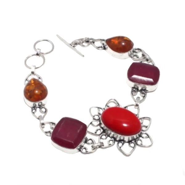 Beautiful Floral Red Coral, Ruby, Amber Gemstone .925 Silver Bracelet - BELLADONNA
