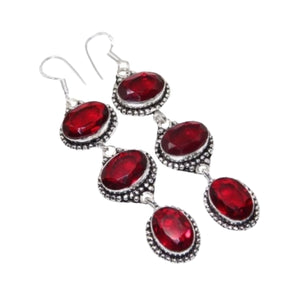 Stunning Long Garnet Gemstone .925 Silver Earrings - BELLADONNA
