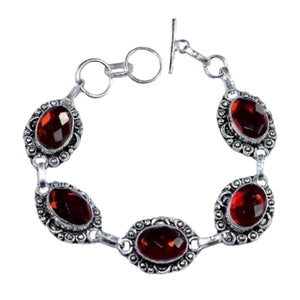 Faceted Fiery Rainbow Topaz Ovals Gemstone .925 Silver Bracelet - BELLADONNA
