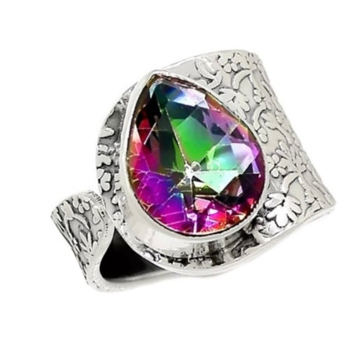 Cts Multi -Colour Rainbow Topaz, Ring In Solid .925 Sterling Silver US Size 8 - BELLADONNA