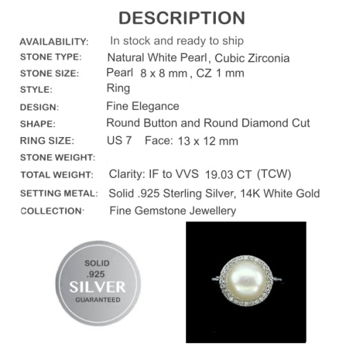 19.03 Cts Natural Creamy White Pearl , Cz Solid .925 Silver Size 7 - BELLADONNA