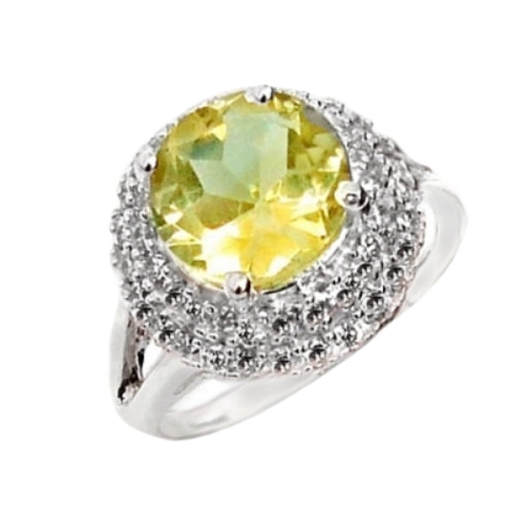 6.53 cts Natural Lemon Topaz, White Topaz Solid .925 Silver Ring Size 8 - BELLADONNA