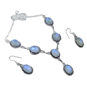 Fancy Dichroic Glass .925 Silver  Hallmarked Necklace And Earrings Set - BELLADONNA