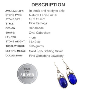 Bali Natural Lapis Lazuli, Gemstone Solid .925 Silver Earrings - BELLADONNA