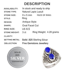 3 ct Natural Lapis Lazuli Gemstone Solid .925 Silver Ring Size 8.5 - BELLADONNA