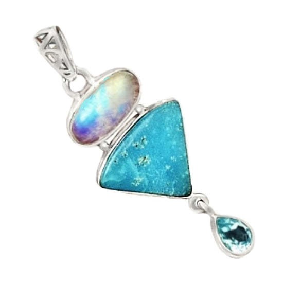 Natural Smithsonite, Moonstone, Blue Topaz Solid .925 Sterling Silver Pendant - BELLADONNA