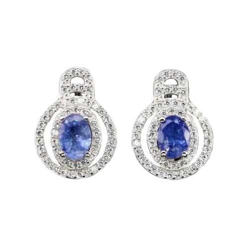 10.46 ct Natural Unheated Tanzanite Gemstone Solid .925 Silver Fine Earrings - BELLADONNA