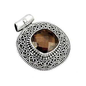 8.63 Cts Natural Smoky Topaz .925 Solid Sterling Silver Pendant - BELLADONNA