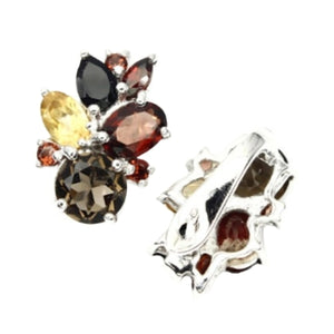 Natural  Smoky Topaz, Garnet, Citrine Solid .925 Sterling Silver Earrings - BELLADONNA