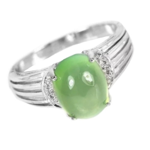 Soft Green Australian Moss Prehnite Cubic Zirconia Gemstone Solid .925 Sterling Silver Ring Size 7 - BELLADONNA