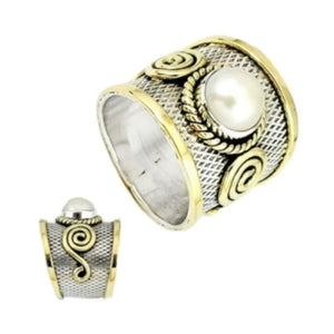 Two Tone Natural White Pearl Solid .925 Silver Ring Size 8.5 - BELLADONNA