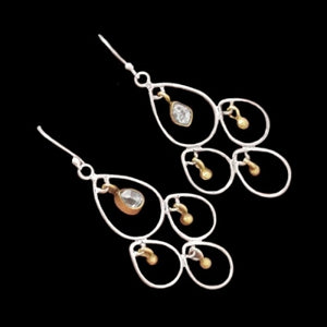 Spectacular Two Tone Natural Herkimer Solid Sterling Silver Dangling Earrings - BELLADONNA