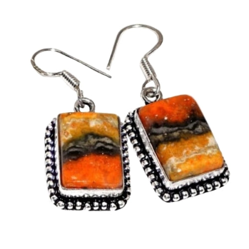 New Arrival Indonesian Bumble Bee Jasper .925 Silver EP Earrings - BELLADONNA
