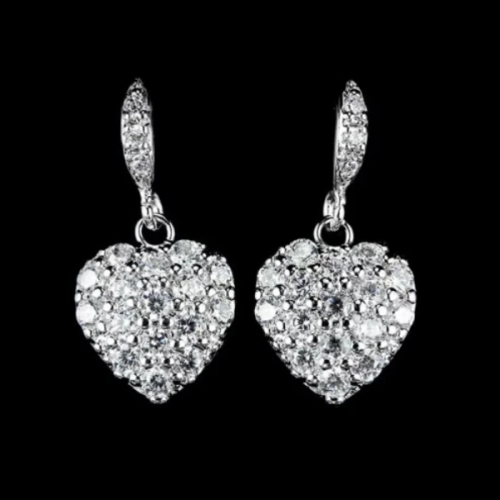 White Cubic Zirconia Hypoallergenic Stainless Steel Heart Earrings - BELLADONNA