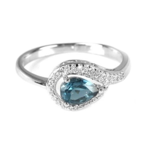 Natural London Blue Topaz White Cz Solid .925 Sterling Silver Size 7.75 - BELLADONNA