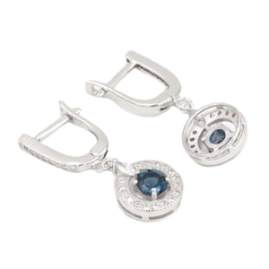 Natural London Blue Topaz Cz Gemstone Solid .925 Sterling Silver Earrings - BELLADONNA