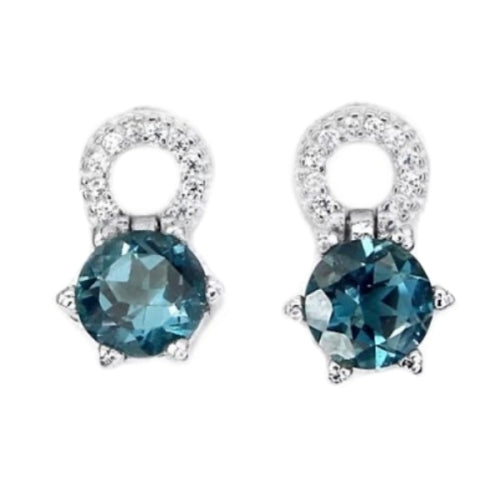 Natural London Blue Topaz Cz Gemstone Solid .925 Sterling Silver Studs - BELLADONNA