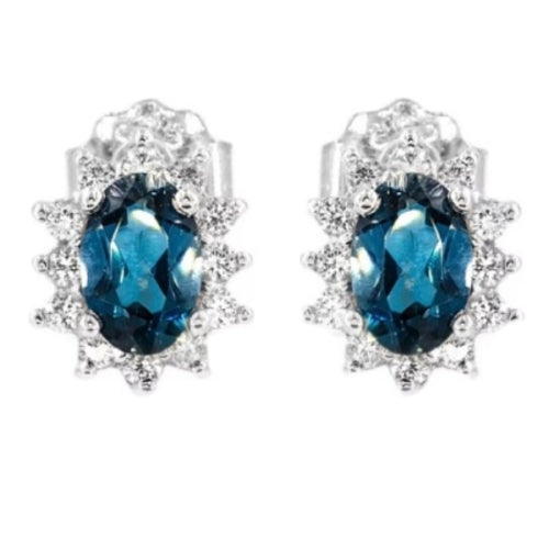 Dainty Natural London Blue Topaz Cz Gemstone Solid .925 Sterling Silver Studs - BELLADONNA