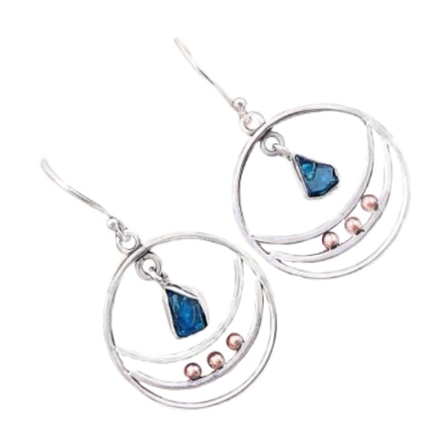 Natural Neon Blue Apatite Gemstone Solid .925 Silver Fine Earrings - BELLADONNA