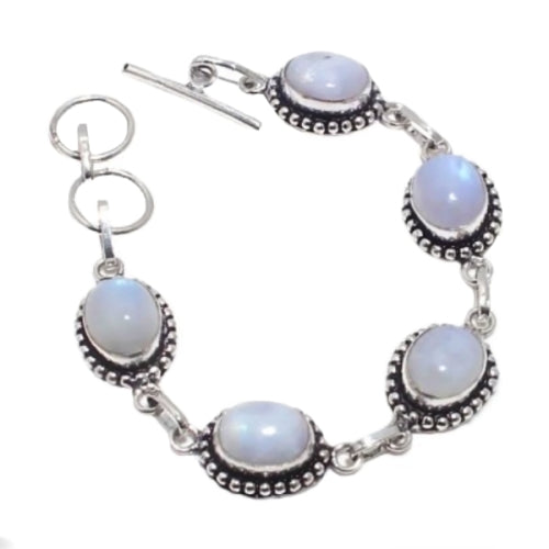 Natural Rainbow Moonstone Gemstone .925 Silver Bracelet - BELLADONNA