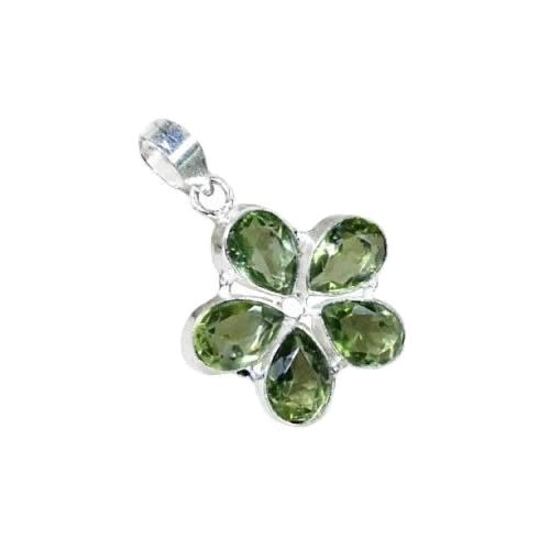 Exquisite Floral Green Amethyst Pears .925 Silver Pendant - BELLADONNA
