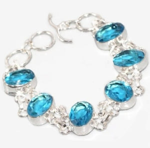 Striking Beauty Handmade Faceted Blue Quartz Gemstone .925 Sterling Silver Bracelet - BELLADONNA