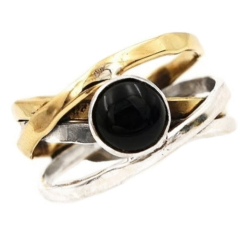 Two Tone Natural Black Onyx 100 % Solid .925 Silver Ring Size US 8.5 - BELLADONNA