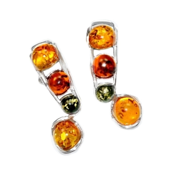 4.7 grams Authentic Baltic Amber Gemstone In Solid  .925 Sterling Silver Stud Earrings