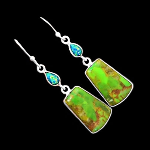 Natural Mohave Green Turquoise, Fire Opal Earrings Solid .925 Sterling Silver - BELLADONNA