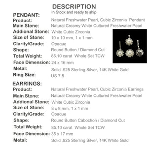 Natural White Pearl, Cz Solid .925 Sterling Silver Pendant, Ring ,Earrings - BELLADONNA