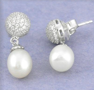 Natural Freshwater Pearl, White Topaz Solid .925 Silver Stud Earrings - BELLADONNA