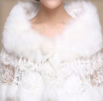 Local Stock Luxurious Brides Wedding Lace, Satin, Faux Fur Stole/ Wrap/Shrug - BELLADONNA