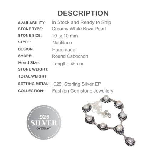 White Pearl. 925 Sterling Silver Necklace - BELLADONNA