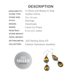 Faceted Sunny Citrine Pears. 925 Sterling Silver Earrings - BELLADONNA