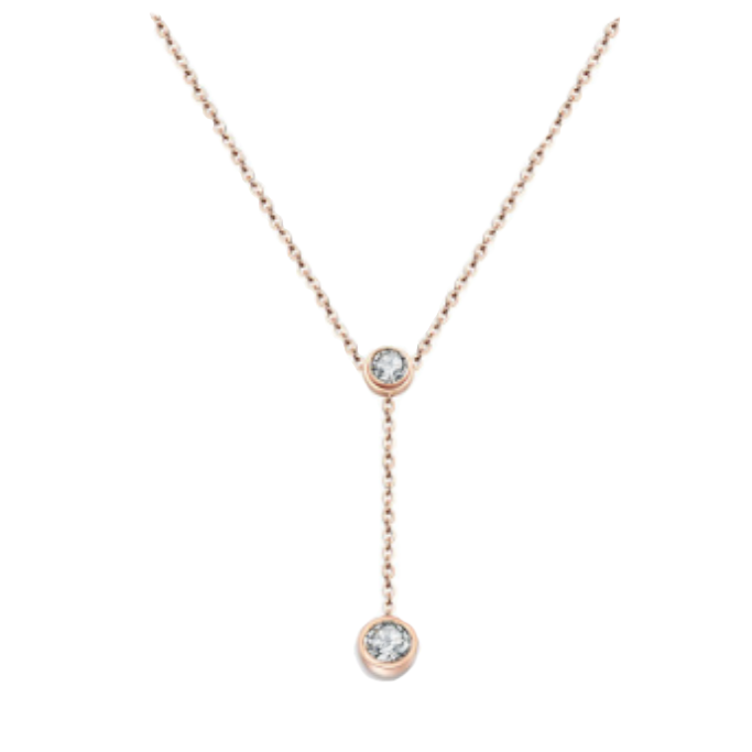 18K Rose Gold, Gold, Silver over Stainless Steel with White Cubic Zirconia Drop Dangle Necklace - BELLADONNA