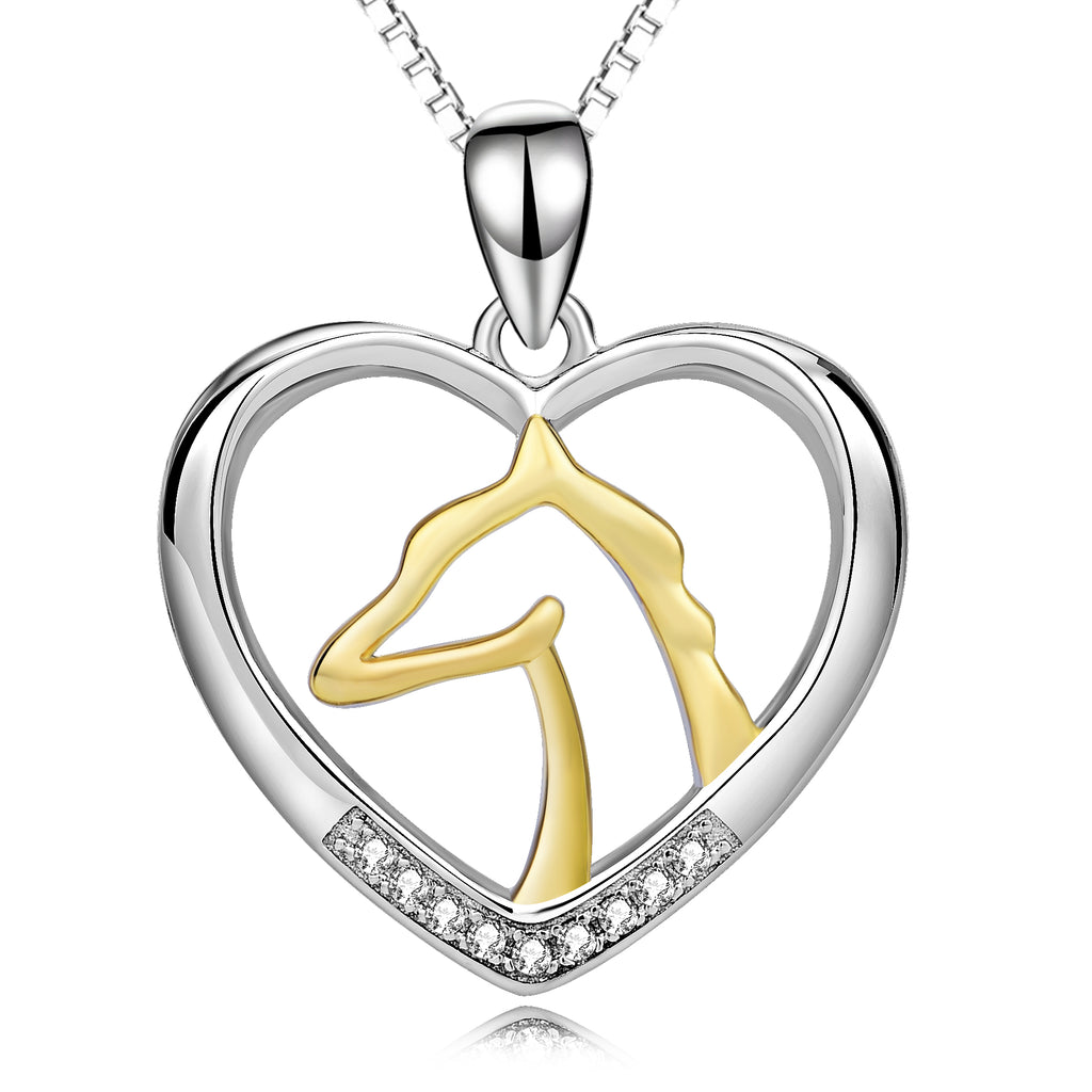 Horse Lovers Two Tone Heart Horse Head with White Cubic Zirconia 925 Sterling Silver Necklace - BELLADONNA