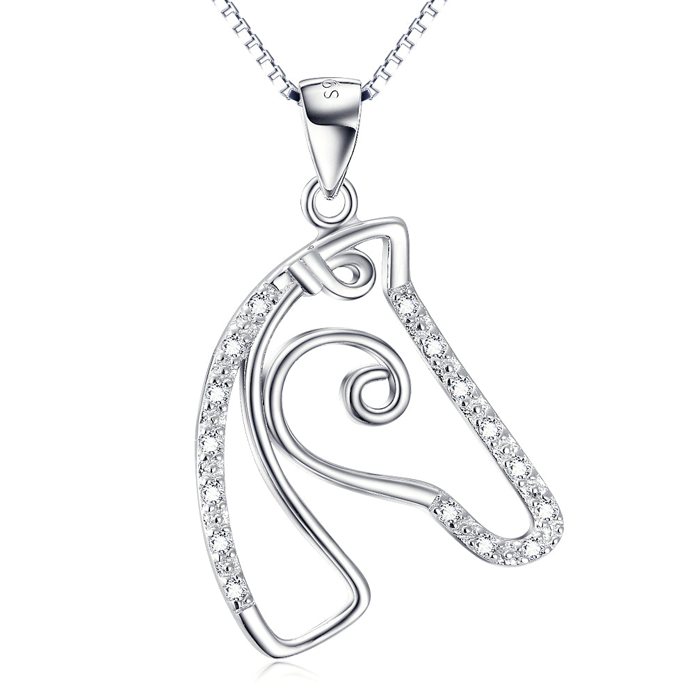 Modern Horse Head Pendant with White Cubic Zirconia  accents 925 Silver Necklace - BELLADONNA