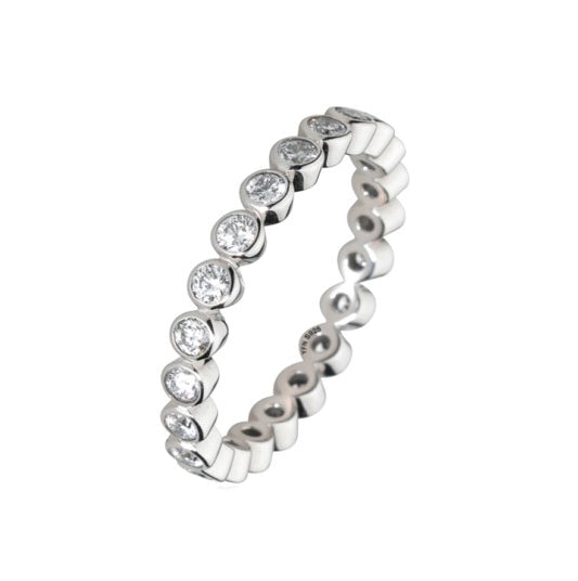 Micro Set Eternity White Cubic in Solid .925 Sterling Silver Ring - BELLADONNA