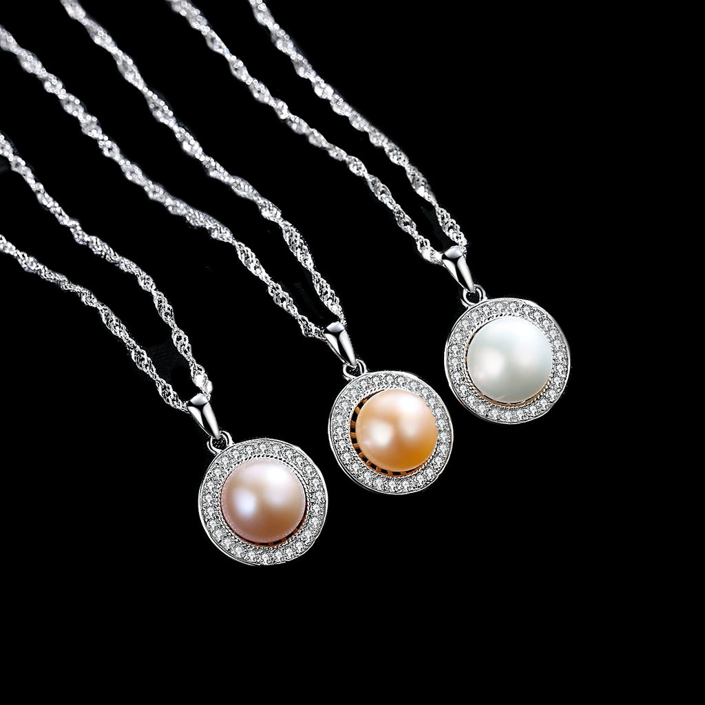 Natural Pearl and White Cubic Zirconia Set In S925 Sterling Silver Necklace - BELLADONNA