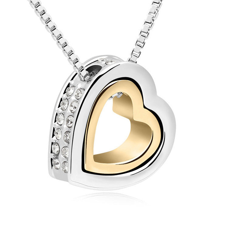 Heart Inlaid with Sparkly White Zirconias Necklace in Silver, Gold , Rose Gold - BELLADONNA
